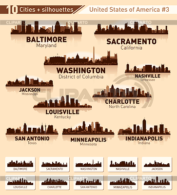 Skyline miasta ustawić. 10 miast USA | Klipart wektorowy |ID 3446760