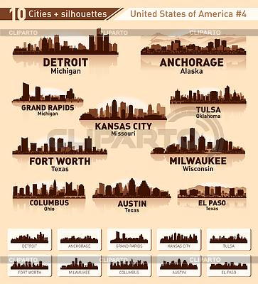 Силуэты городов США | Векторный клипарт |ID 3450922