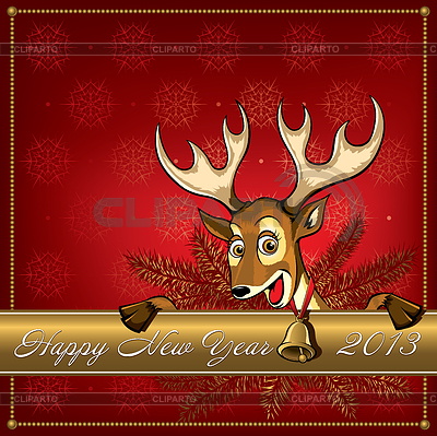 Christmas Deer. Grußkarte | Stock Vektorgrafik |ID 3492041