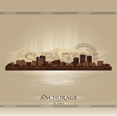 Anchorage Alaska Skyline Silhouette | Stock Vektorgrafik |ID 3692100