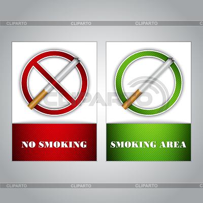 Rauchen verboten und Raucherbereich - Zeichen | Stock Vektorgrafik |ID 3502248
