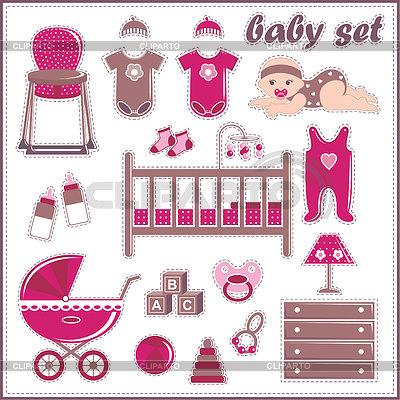 Scrapbook-Elemente mit Baby Dinge | Stock Vektorgrafik |ID 3508699