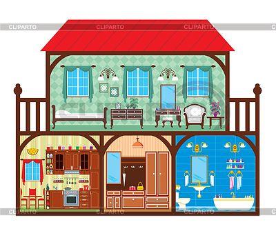 Дом в разрезе | Фото большого размера и векторный клипарт ... Окно Клипарт