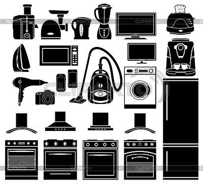 Set von schwarzen Icons von Haushaltsgeräten | Stock Vektorgrafik |ID 3675746