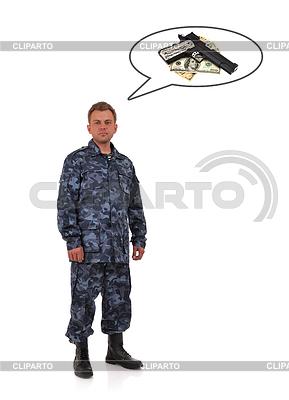 Soldat denkt Waffen | Foto mit hoher Auflösung |ID 3429186