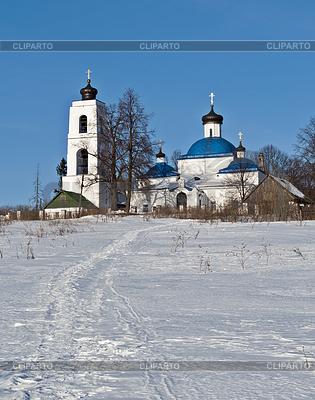 Stary rosyjski kościół kraj w czasie zimy | Foto stockowe wysokiej rozdzielczości |ID 3702839