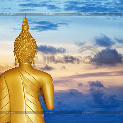 Buddha-Statue bei Sonnenuntergang. Rückansicht | Foto mit hoher Auflösung |ID 3432935