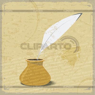 Imagen tinta y pluma de ganso en la cosecha de fondo | Ilustración vectorial de stock |ID 3547879