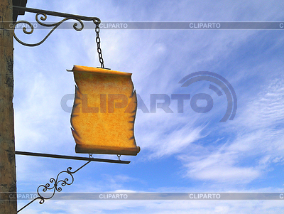 Signboard im Retro-Stil auf Hintergrund des Himmels | Foto mit hoher Auflösung |ID 3681684