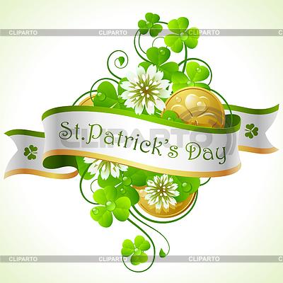 St. Patricks Day Rahmen mit Klee und goldene Münzen | Stock Vektorgrafik |ID 3571972