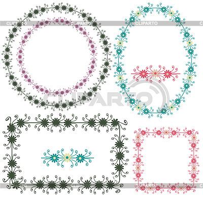 Dekoracja ozdobne ramki i elementy kwiatowe | Klipart wektorowy |ID 3562349