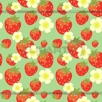 Strawberry seamless pattern with flowers | 高分辨率插图 |ID 3575492