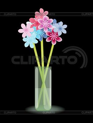 Разноцветные стилизованные цветы в вазу с водой | Иллюстрация большого размера |ID 3658668