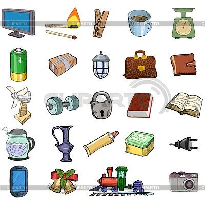 Conjunto de objetos relacionados con el hogar for Objetos para el hogar