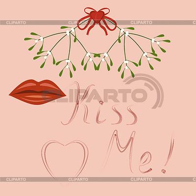 Kiss Me, Lippen und Mistelzweig | Stock Vektorgrafik |ID 3511324