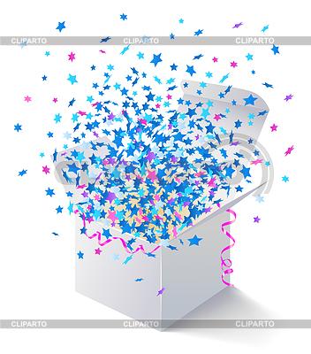 Weiße geöffnete Box mit fliegenden Sternen | Stock Vektorgrafik |ID 3469916