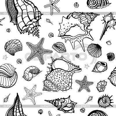 조개와 바다 배경 | 벡터 클립 아트 |ID 3476719