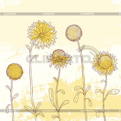 Желтый подсолнух на фоне акварель | Векторный клипарт |ID 3684114