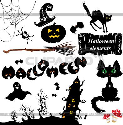 万圣节的元素 - 南瓜,蝙蝠,幽灵设置 | 向量插图 |ID 3387048