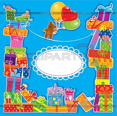 Baby-Geburtstagskarte mit Teddybär und Geschenk-Boxen | Illustration mit hoher Auflösung |ID 3433015