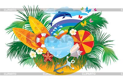 Sommer-Design mit Palmen, Muscheln und Surfbrettern | Stock Vektorgrafik |ID 3452439
