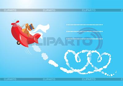 Funny cartoon. Teddy bear aviator in love. Pilot | Klipart wektorowy |ID 3463635