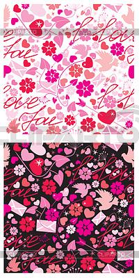 Nahtlose Muster für Valentine `s Day mit Tauben, | Stock Vektorgrafik |ID 3464029