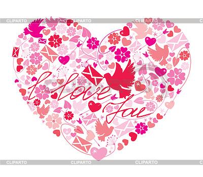 Walentynki pocztówka - Serce wykonana jest z obrazami | Klipart wektorowy |ID 3464089