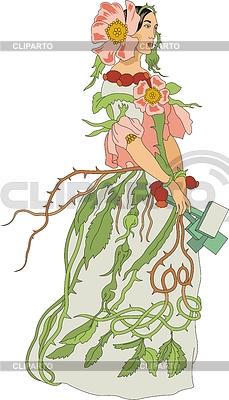 Briar Rose - Kobieta jako kwiat | Klipart wektorowy |ID 3493748