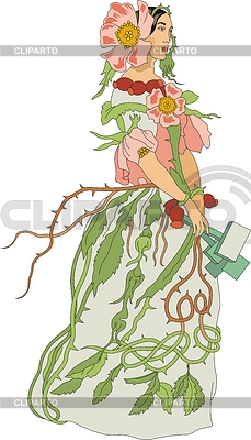 Briar Rose - eine Frau als Blume | Stock Vektorgrafik |ID 3493748