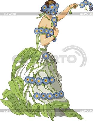 Forget Me Not - Kobieta jako kwiat | Klipart wektorowy |ID 3493763
