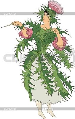 Thistle - Kobieta jako kwiat | Klipart wektorowy |ID 3493833