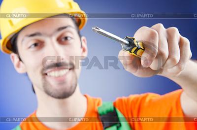 Mann mit Schraubenzieher   Foto mit hoher Auflösung  ID 3389849