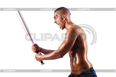 Muskulöser Mann mit Baseballschläger | Foto mit hoher Auflösung |ID 3450618