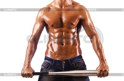 Мускулистый мужчина с бейсбольной битой | Фото большого размера |ID 3463099