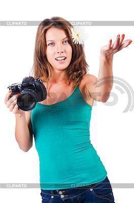 Atrakcyjna kobieta fotograf | Foto stockowe wysokiej rozdzielczości |ID 3515437