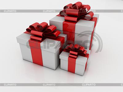 White gift boxes with ribbons and bows | Stockowa ilustracja wysokiej rozdzielczości |ID 3441112