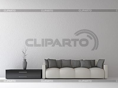 Sofa im grauen Interieur | Illustration mit hoher Auflösung |ID 3530239