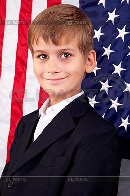 Portret chłopca z amerykańskiej flagi | Foto stockowe wysokiej rozdzielczości |ID 3431210