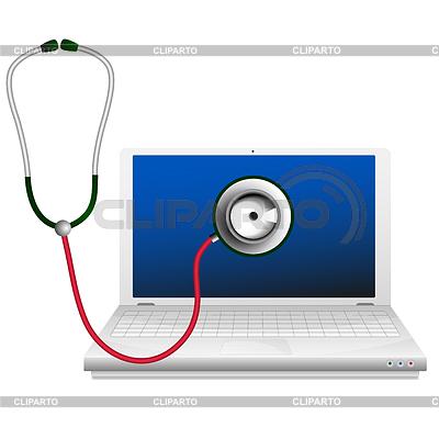 Ноутбук и стетоскоп. Концепция ремонт компьютеров | Векторный клипарт |ID 3498269