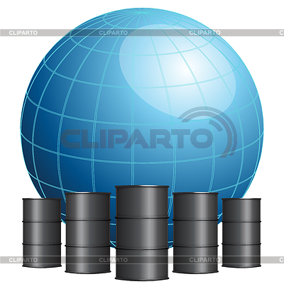 Globe von Ölfässern umgeben | Stock Vektorgrafik |ID 3681559