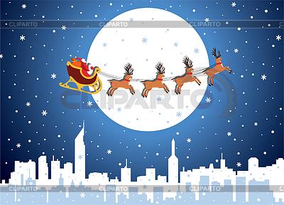 Festliche Glückwunschkarte mit Santa | Stock Vektorgrafik |ID 3477119