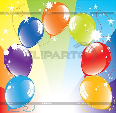 Bunte Luftballons und Lichtstrahlen | Stock Vektorgrafik |ID 3384529