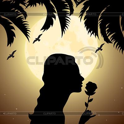 Silhouette des Mädchens mit Blume unter Palme | Stock Vektorgrafik |ID 3493885