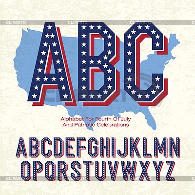 Patriotyzm Alfabet dla czwartej lipca | Klipart wektorowy |ID 3392092