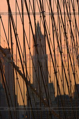在夕阳的布鲁克林大桥,纽约,美国 | 高分辨率照片 |ID 3437459
