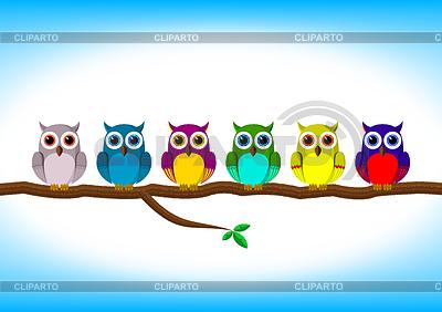 Śmieszne kolorowe sowy w wierszu | Klipart wektorowy |ID 3433101
