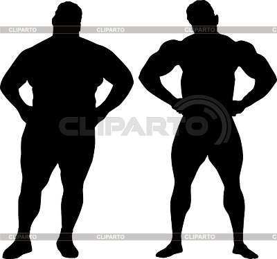 보디와 뚱뚱한 남자의 실루엣 | 높은 해상도 그림 |ID 3454199
