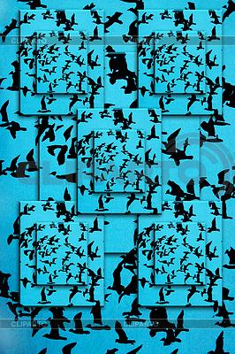 Set von Silhouetten von Vögeln auf blauem Hintergrund | Illustration mit hoher Auflösung |ID 3598576