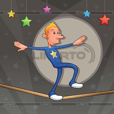 是走在搞笑equilibrist的走钢丝 | 向量插图 |ID 3473556